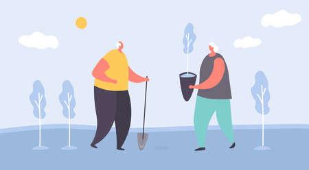 Elderly people, plant tree, grower care, gardening hobby, old couple, vigorous activity, design, cartoon style vector illustration