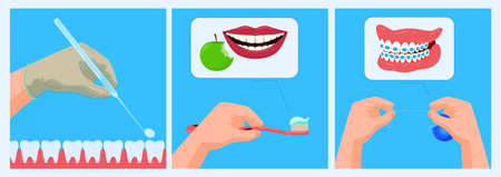 Doctor dentist office, care banner, medical dental health, tooth concept, oral treatment, design, flat style vector illustration.
