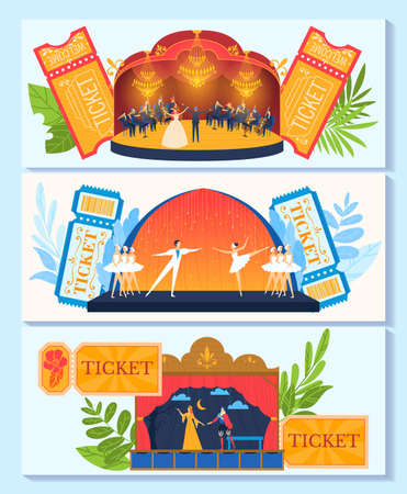 Ballet theater, opera banner, advertising collection, decorative show element, design, cartoon style vector illustration.