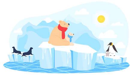 Winter ice, polar bear, sea water, north nature, two animal iceberg, arctic warming, design, style cartoon vector illustration.