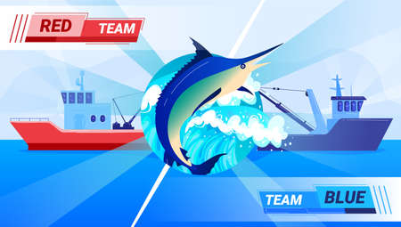 Blue ship against red, fishing competition, international industrial trade, fishing transport, cartoon style vector illustration.