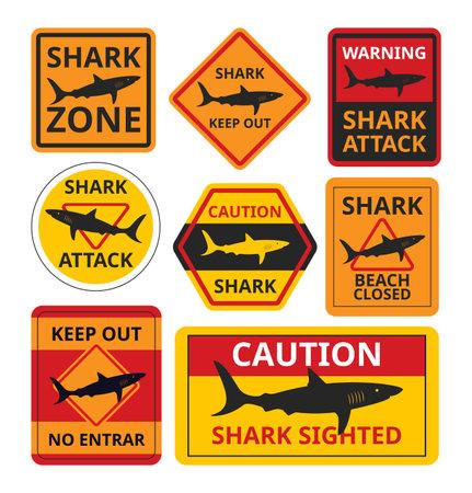Shark attack, warning signs danger, danger in sea water, information signs on ocean coast, cartoon style, vector illustration. Ilustracje wektorowe