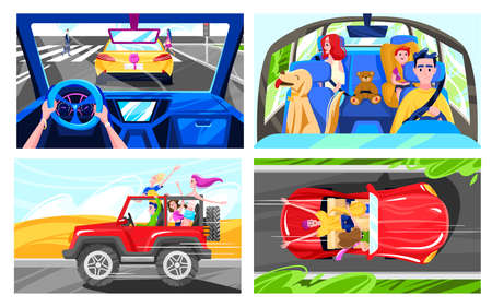 People driving cars, happy family road trip, friends having fun together, vector illustration 向量圖像