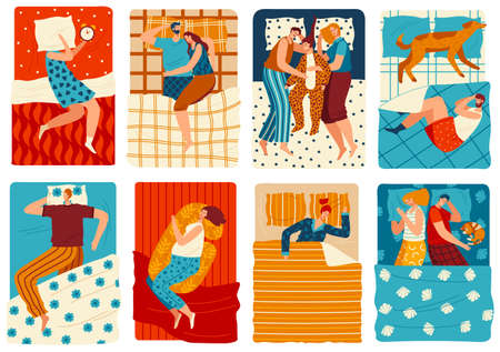 People sleep in bed, set of funny cartoon characters, hand drawn men and women, vector illustration