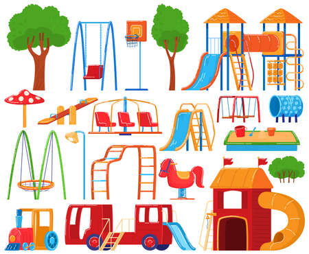 Playground collection, set of icons isolated on white, kindergarten children equipment, vector illustration