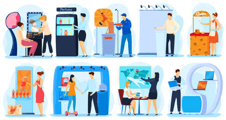 People promoting and presenting products and projects on expo advertisement, vector illustration 向量圖像