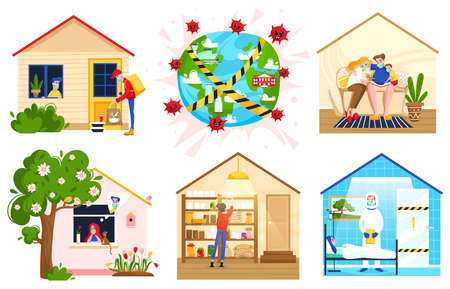 Stay at home people self-isolation quarantine work at home vector illustration. Social distance. People do cleaning, their favorite hobby, spend time with family.