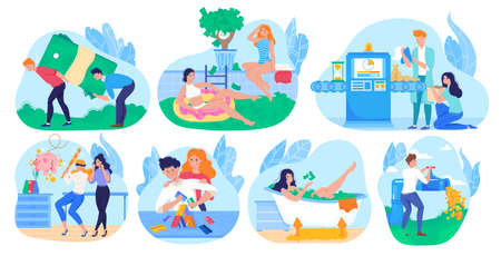 Rich people bathing in money, millionaire cartoon character, set of funny concepts, vector illustration 向量圖像