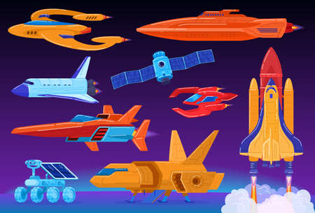 Space transport set, science fiction spaceship and shuttle launch, futuristic technologies, vector illustration