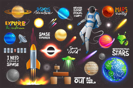Space universe set, collection of glowing planets, icons and stickers with text, vector illustration 向量圖像