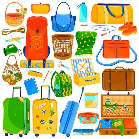 Suitcases, bags and travel luggage set, colorful icons isolated on white, vector illustration