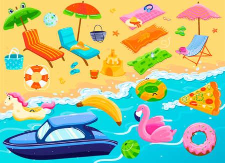 Summer beach vacation items set, holiday recreation resort accessories, vector illustration