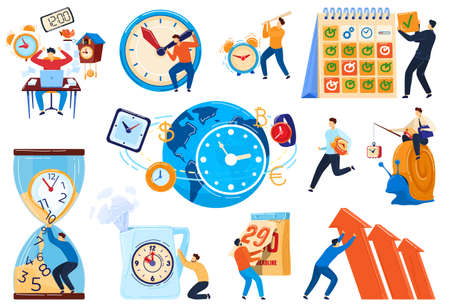 Time management concept, business people deadline, set of cartoon characters, vector illustration 向量圖像