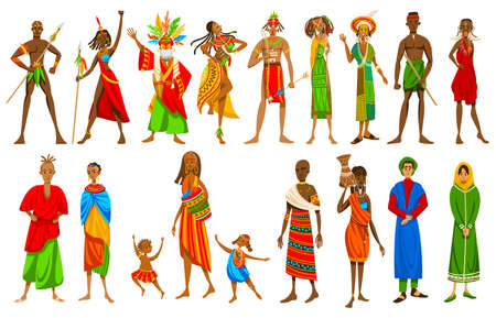Ethnic people of African tribes in traditional clothing, set of isolated cartoon characters, vector illustration