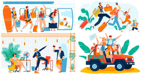 People going on summer vacation trip, funny concept, cartoon characters travel, vector illustration. Office worker ready for vacation, teenager friends summertime getaway, happy family travel