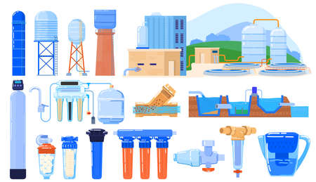 Water filter industry set isolated on white, purification system engineering, vector illustration