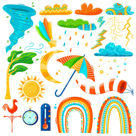 Weather icons in childish style, set isolated on white, colorful climate stickers, vector illustration