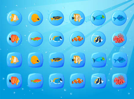 Fish game, ocean underwater, cell round, graphic app interface, colorful element, design, cartoon style vector illustration.