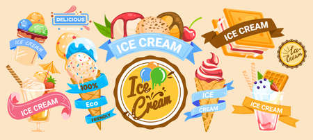 Ice cream banner, sweet delicious food, fresh cone template in style cartoon vector illustration