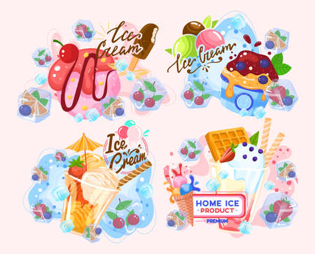 Ice cream, fruit summer dessert strawberry, sweet cold chocolate, cone snack, design, in style cartoon vector illustration.