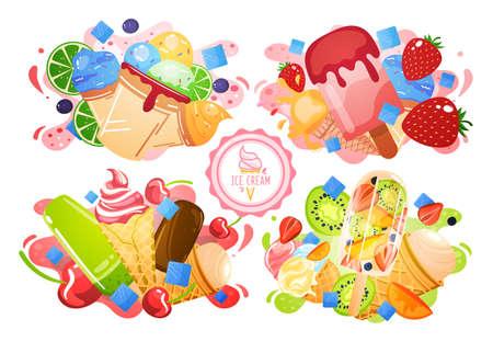 Ice cream sweet, summer cold dessert, flavor label, delicious scoop appetizer, design cartoon style vector illustration.