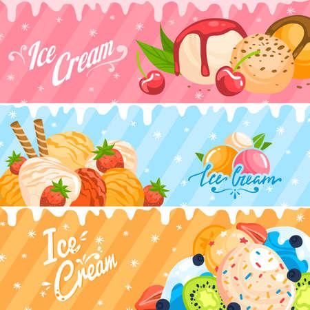 Ice cream set design in style cartoon vector illustration.