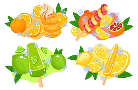 Ice cream juice, sweet dessert, strawberry fruit stick, snack food cold, isolated on white in cartoon style vector illustration.
