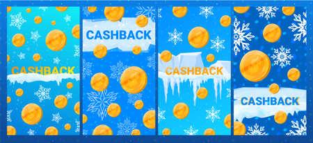 Winter cashback banner in cartoon style vector illustration.