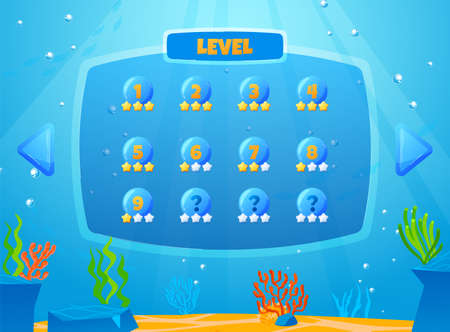 Fish game, game user interface design in cartoon style vector illustration.