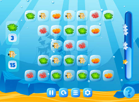Fish game in art sea underwater world with nature element. Interface with level selection screen in cartoon style vector illustration. 版權商用圖片