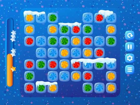 Winter candy game. colorful labels with square shaped cute cells design in cartoon style vector illustration. 向量圖像