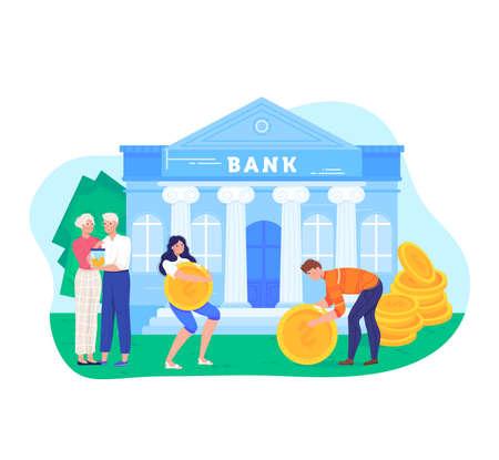 Financial investment concept design cartoon vector illustration.