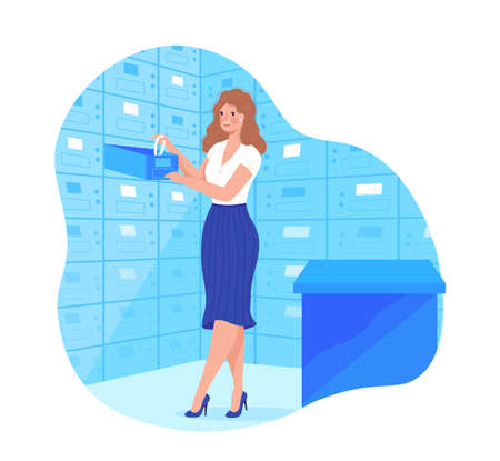Metal strongbox cell in bank for safe storage design cartoon style vector illustration.
