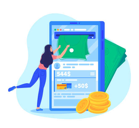 Cash deposit profit. financial transaction via mobile design cartoon vector illustration.