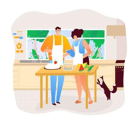 People in kitchen. Man and woman preparing dinner design cartoon style vector illustration. 向量圖像