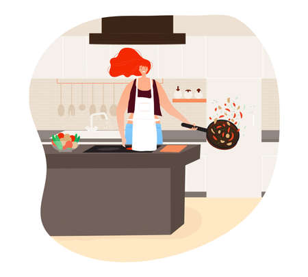 Woman cooking in the kitchen for dinner design cartoon style vector illustration.