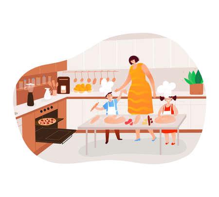 Family cooking design cartoon vector illustration.