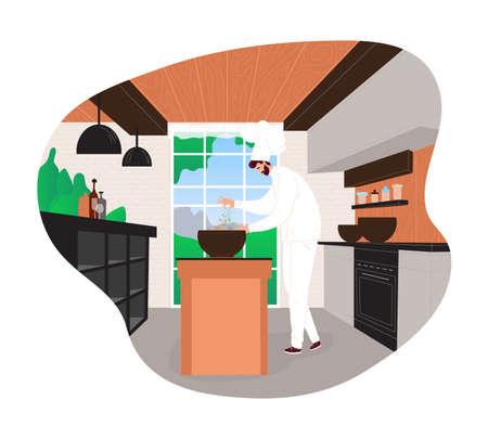 Happy cook man preparing food in restaurant with chef uniform design cartoon style vector illustration.
