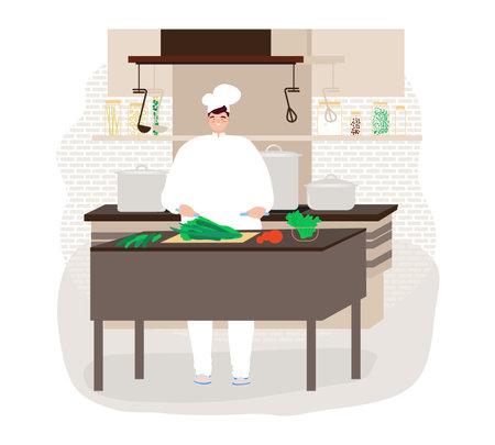 Happy chef preparing food in restaurant with chef uniform design cartoon style vector illustration.