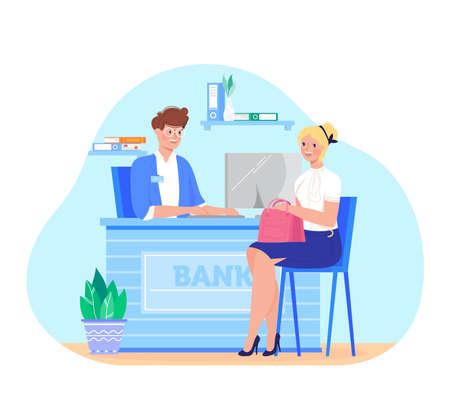 Banking, inscription bank, man at table in office, joyful female client, credit finance, design cartoon style vector illustration.