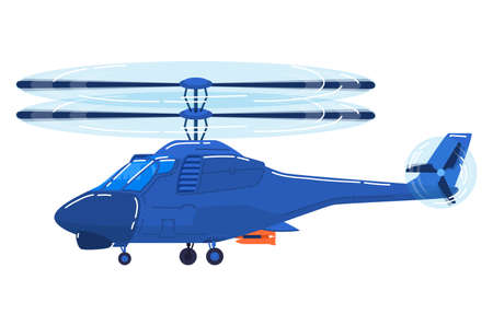 Air transport, modern helicopter, fast vehicle for air travel design cartoon style vector illustration isolated on white. 向量圖像