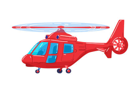 Air transport, modern red helicopter, fast vehicle for air travel design cartoon style vector illustration isolated on white. 向量圖像