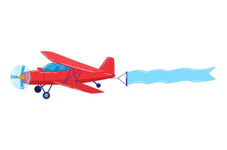 Beautiful retro plane red color, propeller plane, design cartoon style vector illustration isolated on white. Vettoriali