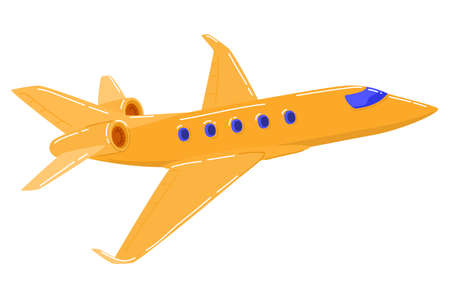 Passenger plane is flying to airport, cartoon style vector illustration, isolated on white 向量圖像
