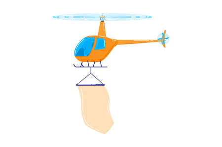 Modern helicopter design cartoon style vector illustration, isolated on white.