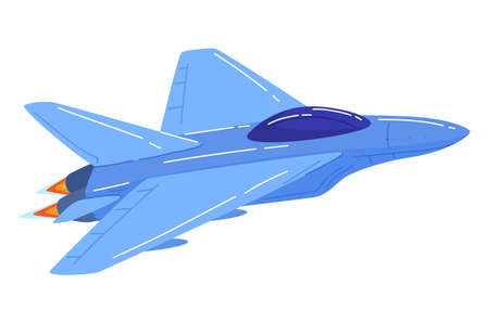 Military fighter,  aviation blue color jet aircraft cartoon style vector illustration isolated on white.