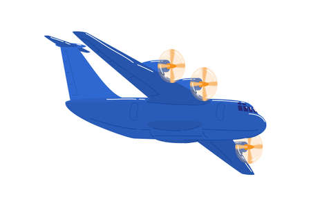 Jet aircraft blue color, passenger plane is flying to airport, cartoon style vector illustration, isolated on white