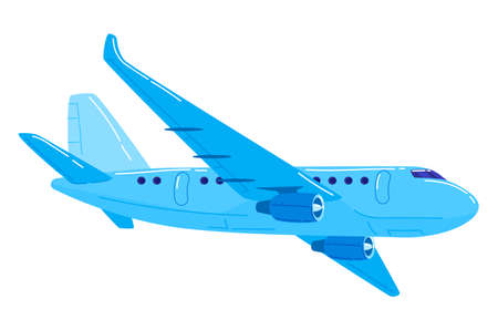 Jet aircraft blue color, passenger plane is flying to airport cartoon style vector illustration isolated on white 向量圖像