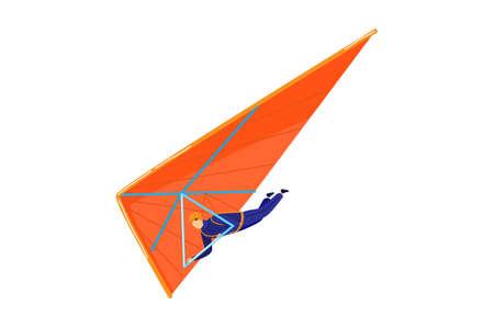 Air transport. man flies on parachute design cartoon style vector illustration, isolated on white.