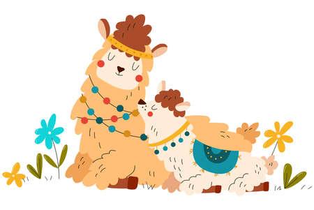 Animals baby, safari, cute alpaca mom, mammal llama in wild, happy animal family, cartoon vector illustration isolated on white. Vecteurs